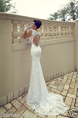 new white/ivory mermaid lace wedding bridal dress custom size 6 8 10 12 14 16 18