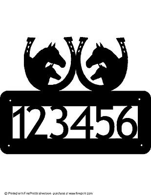 Custom Horses Horseshoes House Number  Textured Black Powder Coat