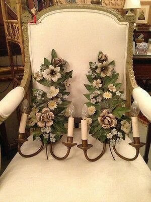 #Pair of 18th Century French Tole Ware Floral Bouquet Wall Sconces c1900 Updates