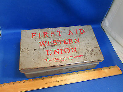 Vintage WESTERN UNION TELEGRAPH First Aid Pac-Kit METAL BOX 90% Complete 1930-40