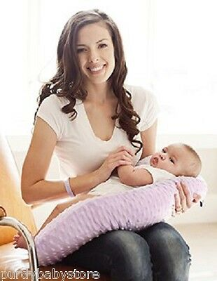 Nursing Pillow Lilac Minky Breastfeeding Baby Infant Functional & Comfortable!