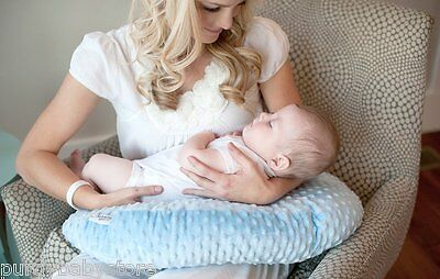 Nursing Pillow Blue Minky Breastfeeding Baby Infant Functional & Comfortable