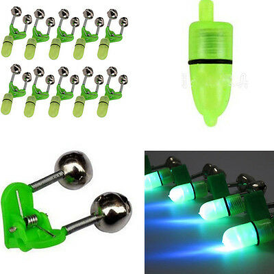 10pcs Rod Tip Clamp Fishing Pole fish Bite Lure Alarm Alert Twin Bell Ring Clip