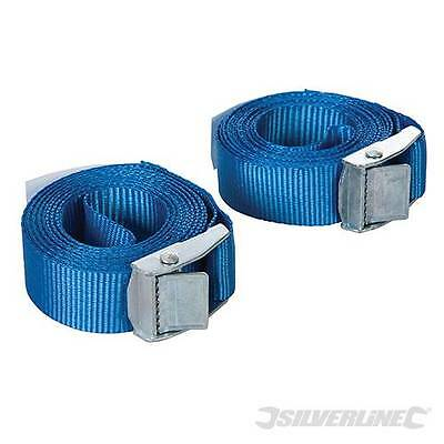 Silverline Buckled Straps 2 Pack 2.5m x 25mm Cam Buckle Tie Down Lashing 449682