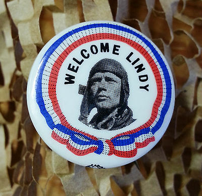 "Lindbergh Button Pinback ""Welcome Lindy"""
