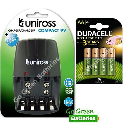 Uniross compact AA/AAA Charger + 4x Duracell AA 1300 mAh Rechargeable Batteries