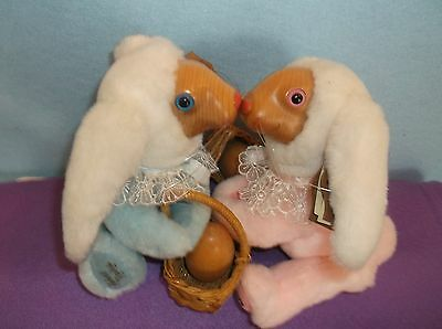 2 Raikes Small Baby Easter Bunnies Cambria & Daniel-Plush & Wood-Basket-Signed