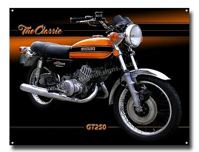 LGE A3 SIZE SUZUKI AP50 CLASSIC MOTORCYCLE ENAMELLED METAL SIGN,RETRO,MOPED.