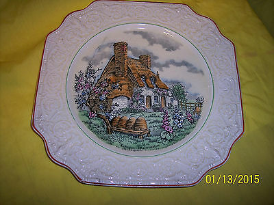 * Crown Devon Fieldings PLATE Olde England PATTERN LUBINGTON-WARWICKSHIRE 1950'S