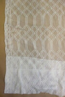 Vintage Antique Ivory Edwardian Lace Curtain Panel w/ Geometric Pattern