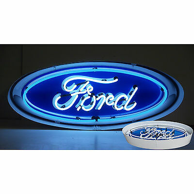 Neon sign Ford  oval Huge sign in a metal can Mancave