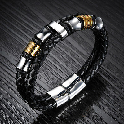 """men's popular sale black leather with stainless steel silver gold bracelet 8.07"""""""