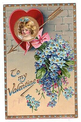 TUCK'S VALENTINE POSTCARD PRETTY GIRL ARROW RED HEART & FOR GET ME NOT SER. 11