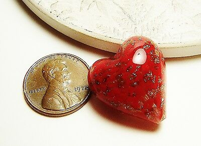 Puffy Heart, Red & Clear, Copper, Sommerso Lampwork Venetian Glass, Murano Bead