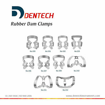 Dentech Dental Restorative 10 Set Rubber Dam Clamps German Steel CE New Colliers