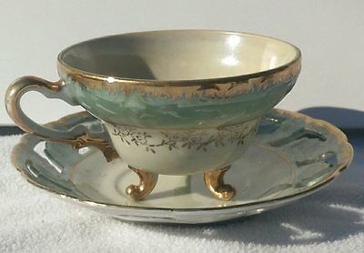 Fancy 3 Foot Tea Cup and Saucer White & Teal with Gold Trim Vintage China
