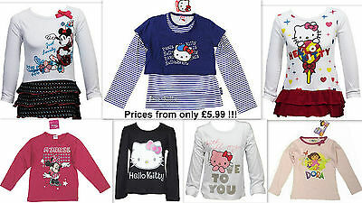 Girls T-Shirt Top CHARACTER Disney+ LONG SLEEVE -Sizes Baby to 12 Yrs