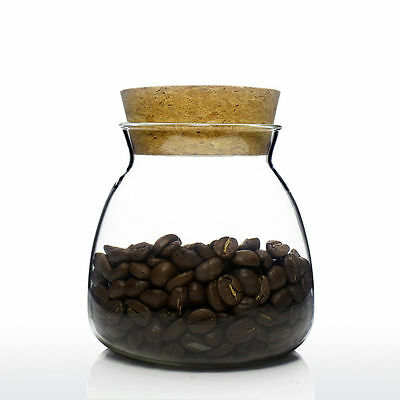 UNIHOM - VILLEL Clear Glass Coffee Tea Sugar Storage Canister Jar with Cork Lid