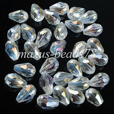 8x12mm Clear White Crystal Teardrop Faceted Loose Beads 10PCS MA1752