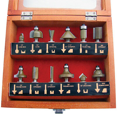 "NEW 12PC 1/4"" Professional Shank TCT Tipped Router Bit Set With Wooden Case"