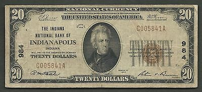 $20 1929-1 NBN==INDIANAPOLIS, (IN)==Ch 984=INDIANA NB of INDIANAPOLIS==VERY FINE