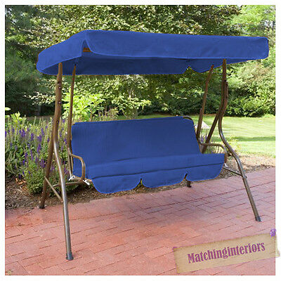 Blue Splashproof 3 Seater Garden Hammock Swing Seat Canopy Cover & Cushion Set