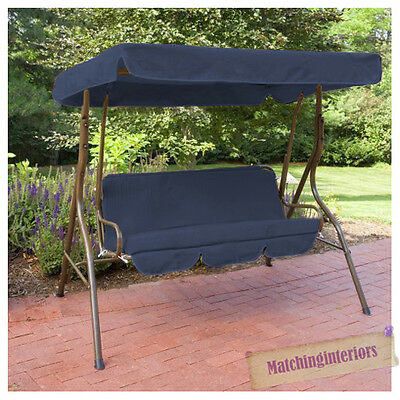 Navy Splashproof 2 Seater Garden Hammock Swing Seat Canopy Cover & Cushion Set