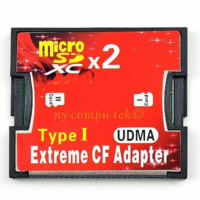 2 Port Micro SD TF Micro SDHC to Type I 1 Compact Flash Card CF Reader Adapter
