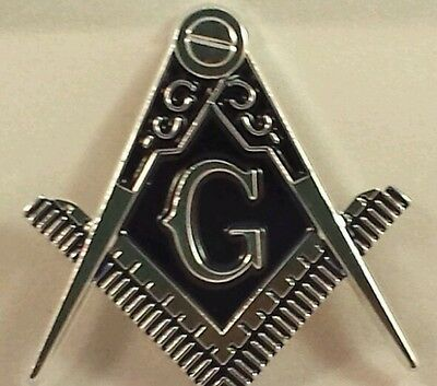 Freemason Masonic cut-out car emblem in silver & Blue