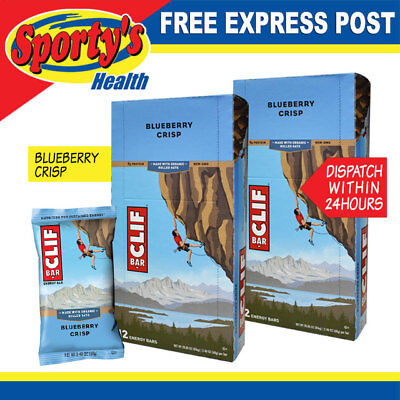 Clif Bar Energy Bar 2 Boxes , 24 X 68G Bars Blueberry Crisp Free Express Post