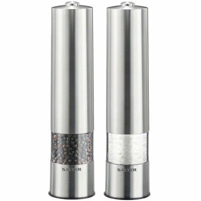 Salter 2 Electric Stainless Steel Salt & Pepper Grinder/Dried Herbs/Spices/Mill