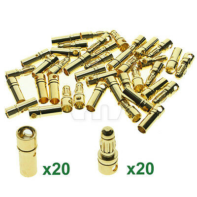 New 20 Pairs 3.5mm Gold-plated Metal Bullet Banana Plug Connector RC Battery UK