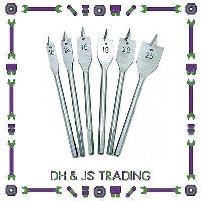 Machine Flat Wood Drill Bits - All Metric Sizes Spade Bit Bagged High Quality
