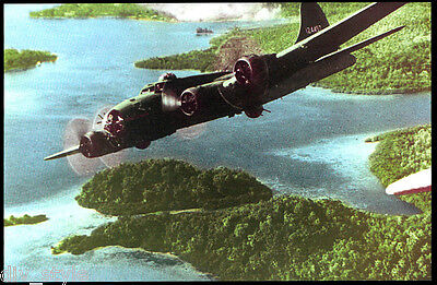 WWII B-17 Flying Fortress bomber over Solomon Islands  postcard