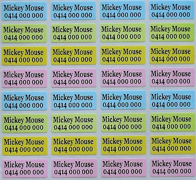 160 x 4 Colour Pearl Personalised Name Stickers Vinyl Tag / Label, 2.2 X 0.9 CM