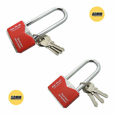 Iron Padlock Security Long Shackle Chrome Plated 40mm-50mm with 3 Keys