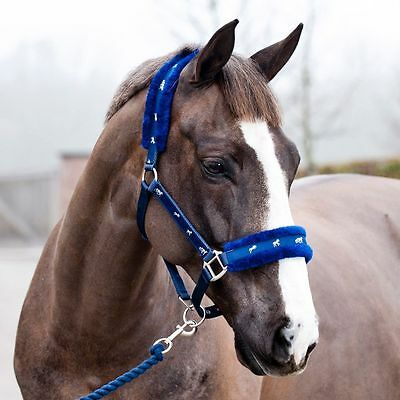 Horse Padded Headcollar with faux fur & Free Lead Rope / All Sizes Pony,Cob,