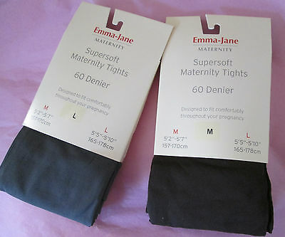 Emma Jane Maternity 60 Denier Tights Chocolate Brown & Mid Grey Sizes Med & Larg