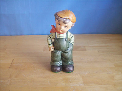 Vintage Boy With Green Overalls Figurine