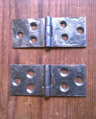 WROUGHT IRON BUTT HINGES-Old 1800s-Vintage Hinges 1 1/8 X 2 7/8
