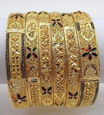 Indian Party Wear 22ct Gold Plated Bangles (Size:2.10)(Set Of 6)