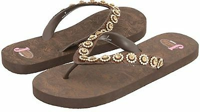 082aebd165a1c7 New Women s Justin Stace 5515402 Bling Western Flip Flop Sandal Size 5  Brown 49F