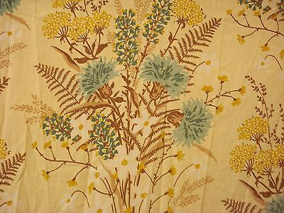 VTG Retro Sheet QUEEN FLAT Dried Flowers 70s Cannon Monticello Blue Tan percale
