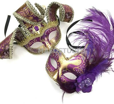 Purple Masquerade Mask Jolly Jester Mardi Gras Carnival Birthday Costume Party