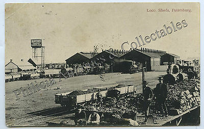 C1905 Pt Pu Postcard Loco Sheds Petersburg Sa Local Publisher C Betteridge E56