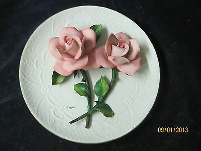 Vintage Capodimonte Italy Plate Pink Roses signed by artist