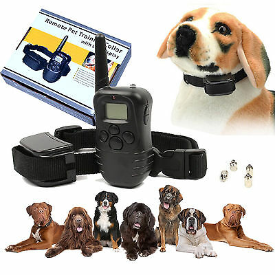Electric Shock Vibration Pet Dog Remote Training Collar LCD 100LV Level 300Meter