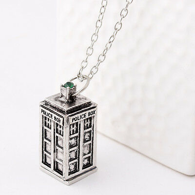 New 3D TARDIS Police Box Doctor Who  Pewter Tall Vintage Necklace
