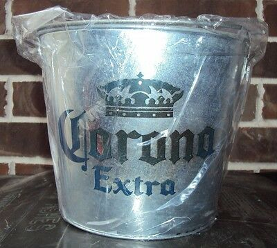 CORONA EXTRA 5qt Galvanized Beer Bucket with Opener on the side