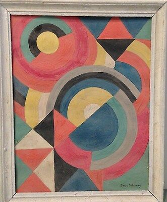 OLD AGED GOUACHE PAINTING SIGNED SONIA DELAUNAY /LISTED /RARE/CIRLCE OF PICASSO